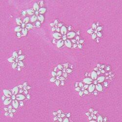 Stickers d'ongles duo de fleurs blanches et strass