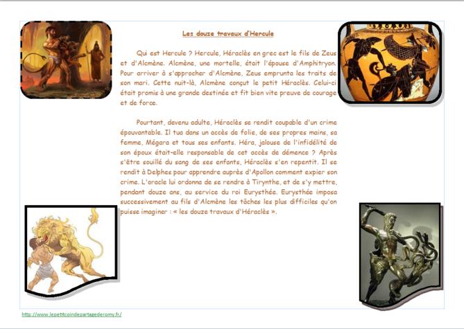 """thème mythologie : défi """"les 12 travaux des CM"""""""