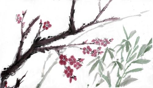Peinture chinoise : fleurs de prunus et chrysanthèmes