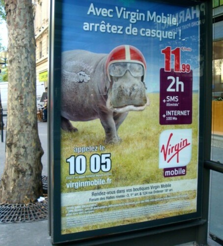 affiche Virgin humour Hippo casque 4