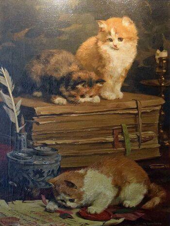 Tableau du samedi : Trois chats sur un bureau