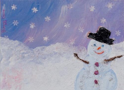 Joie d'hiver Techniques mixtes - 9x12