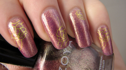 Nail art - Violettes d'or