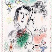 Marc Chagall, Fiançailles au cirque, 1983 Lithographie, 65 x 47,5 cm Donation de M. Charles Sorlier en 1988 Musée national Marc Chagall, Nice Gérard Blot/Agence photographique de la RMN – Grand Palais des Champs Elysées © Adagp, Paris 2019