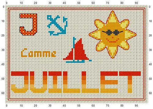 grille point de croix - J COMME  JUILLET