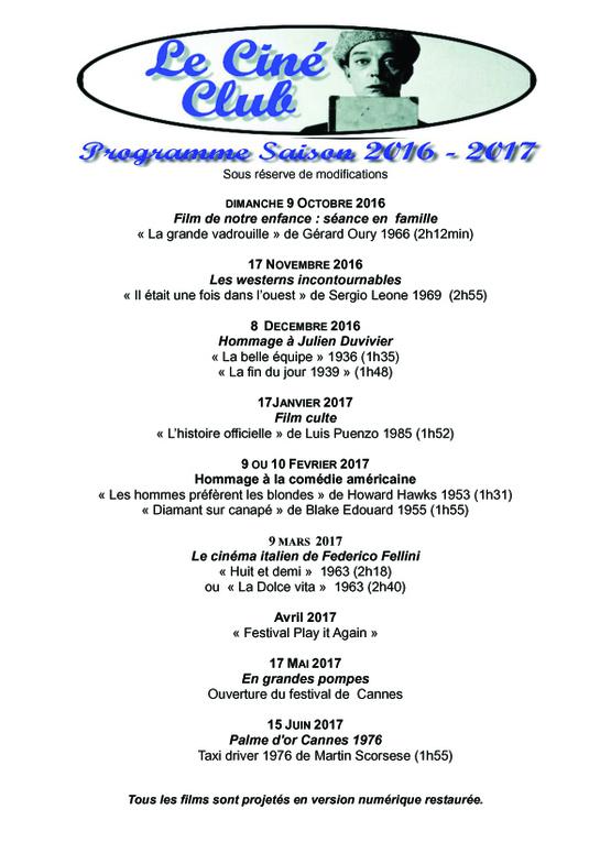Programmation de la saison 2016 - 2017 du Ciné Club