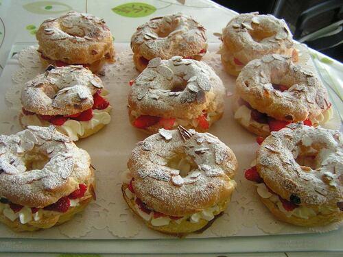 Gâteaux façon Paris -Brest à la fraises