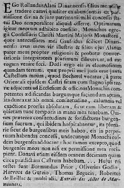Alain de Dinan et les droits de pêcheries donnés au Grand Monastère