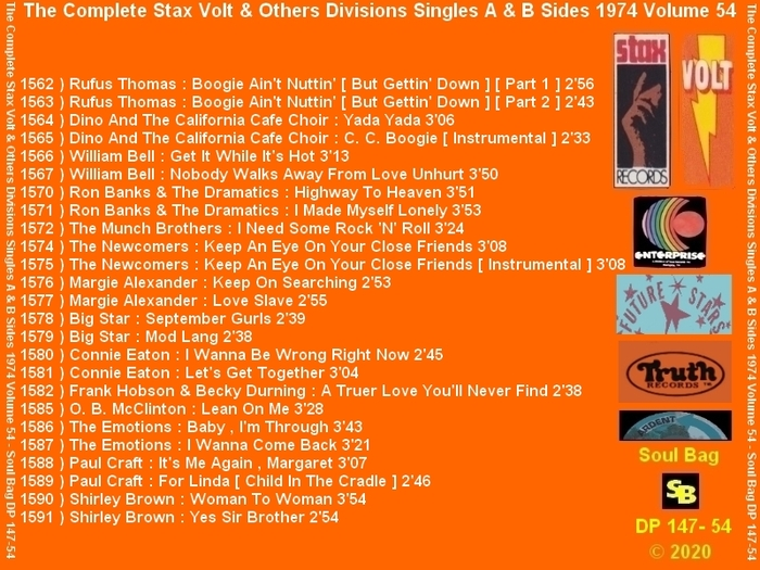 """ The Complete Stax-Volt Singles A & B Sides Vol. 54 Stax & Volt Records & Others Divisions "" SB Records DP 147-54 [ FR ]"