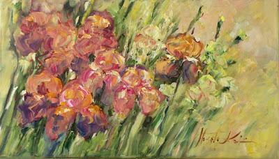 Peinture de fleurs par l'artiste polonais Malgorzata Kruk