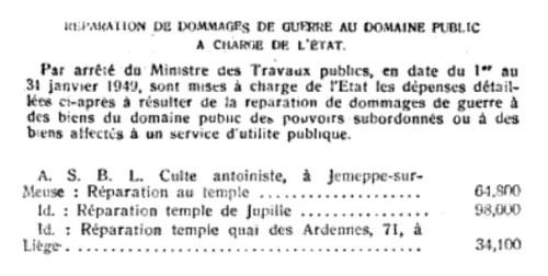 Réparation des temples antoinistes après les dommage de guerre (Moniteur Belge, 23 mars 1949)