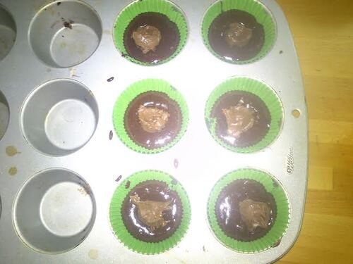 muffin fondant chocolat coeur pâte à tartiner