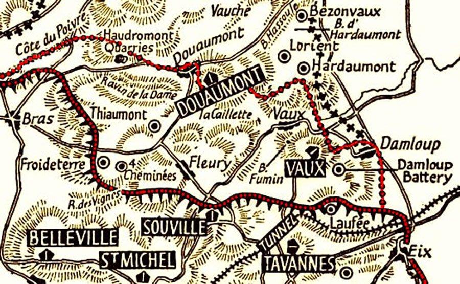 Carte ancienne du secteur de Vaux et de Douaumont