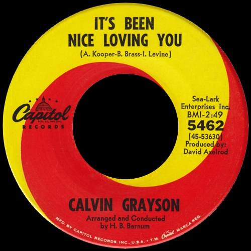 1965 : Calvin Grayson : Single SP Capitol Records 5462 [ US ]