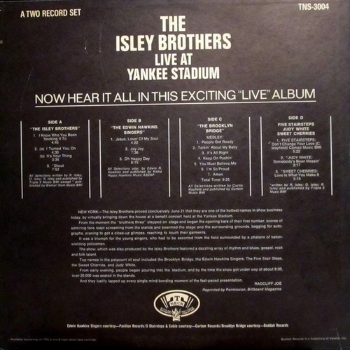 "The Isley Brothers : Album "" Live At Yankee Stadium NY, June 21, 1969 "" T-Neck Records TNS 3004 [ US ]"
