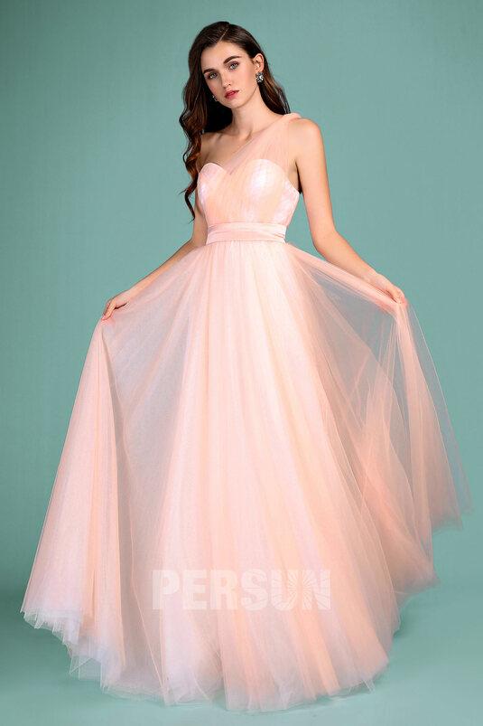 romantique robe pêche clair longue tulle bretelle mariage