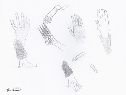 Gribouillages (essais) mains & yeux