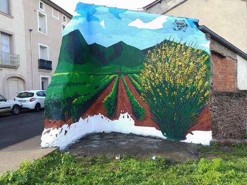 """fresque décoration JERC mur d'angle 7mx4m """"gineste en  ruffe"""" Le Bousquet d'Orb (34) en Janvier 2016"""
