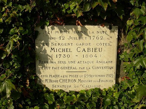 Plaque commémorant l'exploit de Michel Cabieu