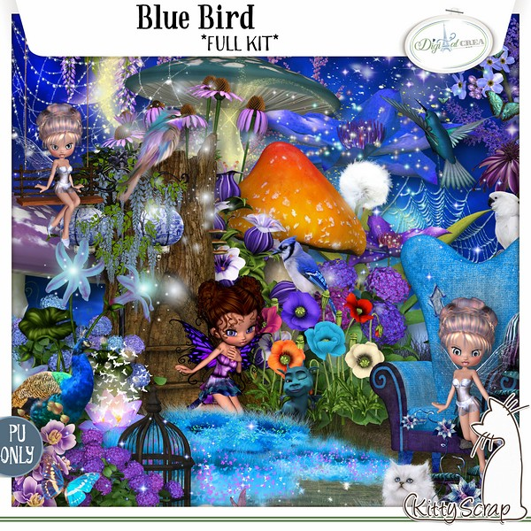 BLUE BIRD by Kitty Scrap