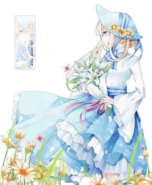 Fille bleu chapeau fleurs blonde