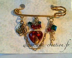 Broche Epingle  3 anneaux Coeur Verre de Murano authentique Rouge Feuille d'Or et Cristal de Swarovski / Plaqué Or