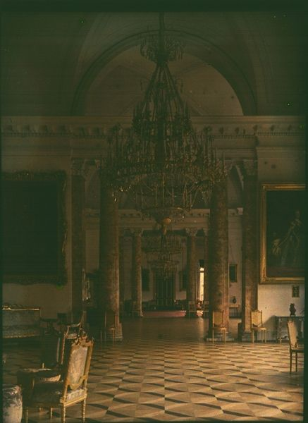 A rare and unique set of 48 Autochrome color photograph plates, taken by Alexander Zehest in 1917 of the interiors of the Alexander Palace, including both the Parade rooms and the personal rooms of the Imperial Family, have been returned to the Alexander Palace Museum.  The Autochrome process was a rare and difficult one, invented by the Lumiere Brothers of France in 1903 and marketed in Europe and the US starting in 1907.