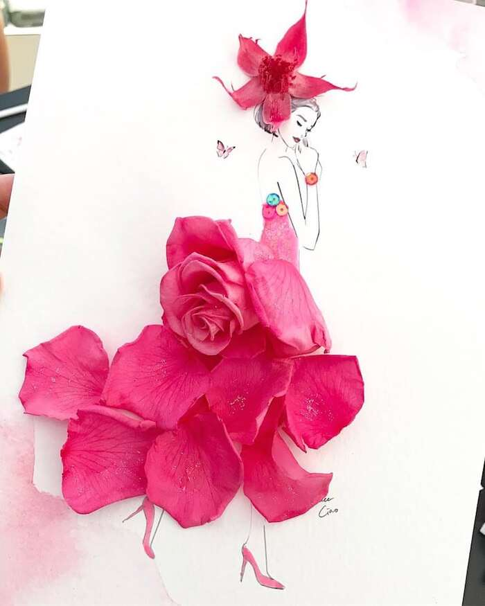 Artist Uses Real Flower Petals to Create Blossoming Fashion Illustrations..Grace Ciao