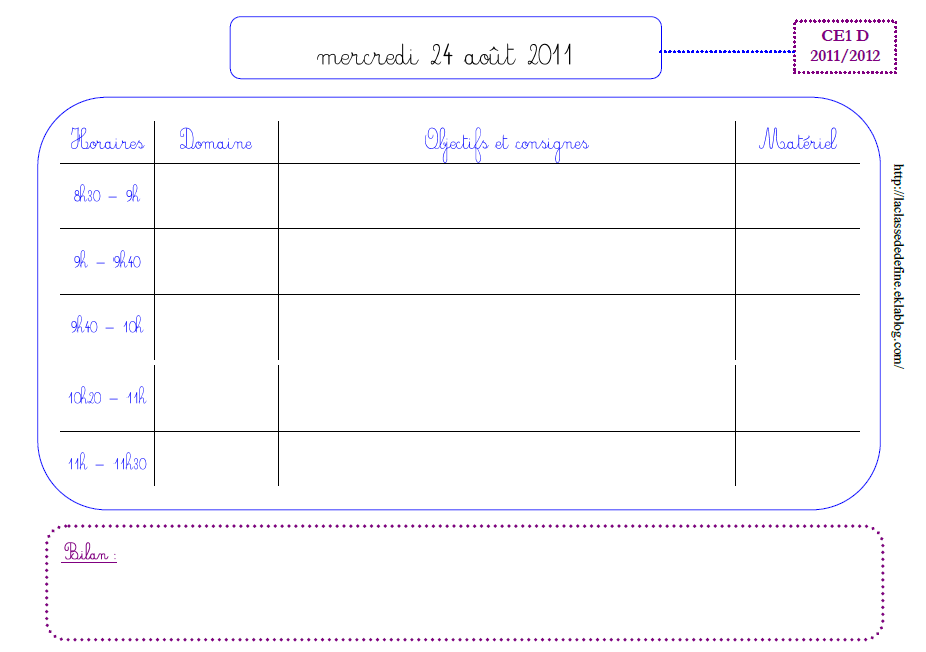 Cahier journal hebdomadaire maternelle vierge