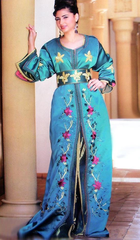 Takchita marocaine bleu, sur mesure et pas cher TAK-S637
