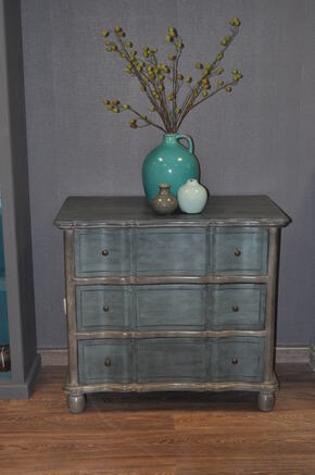 Commode patine grise et turquoise