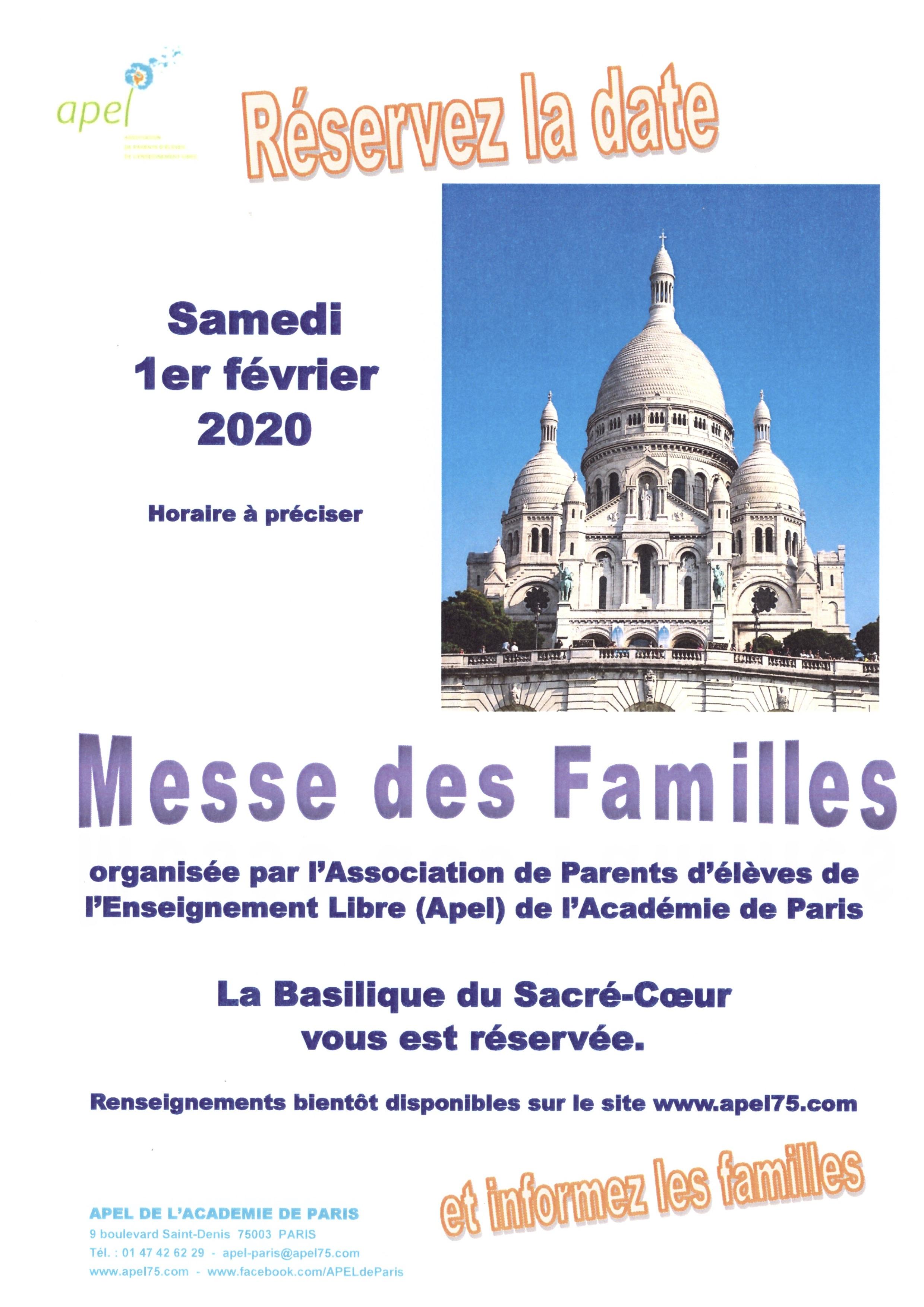 Messe des Familles | Sacré-Coeur | 1er février 2020