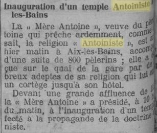 Inauguration d'un temple à Aix-les-Bains (L'Homme libre - 26 août 1924)