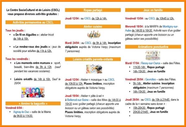 Programme des activités du Centre Social de Châtillon sur Seine