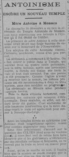 Antoinisme, Encore un nouveau temple, Monaco (Le Fraterniste, 26 décembre 1913)
