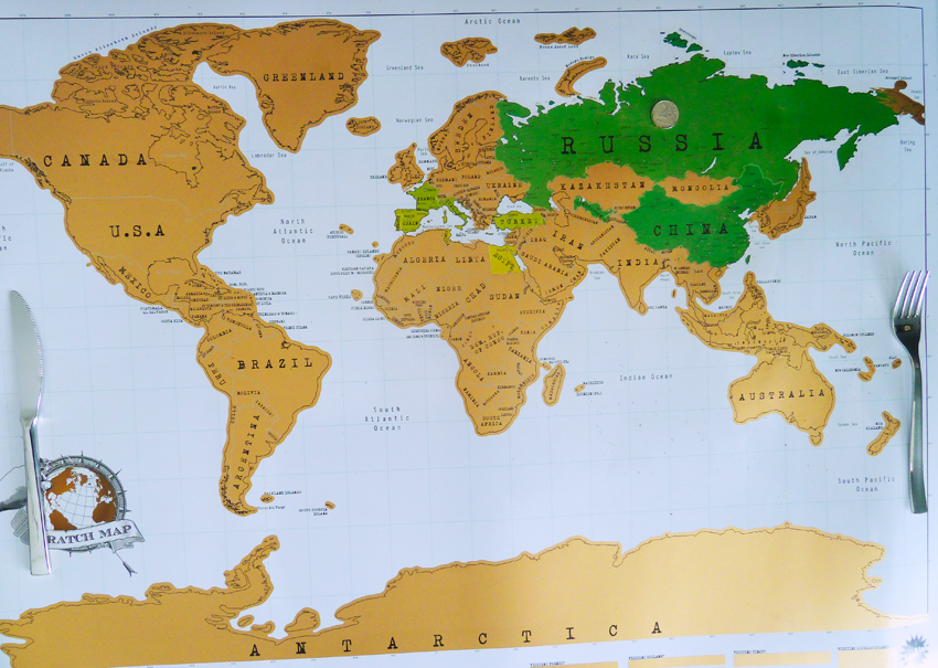carte à gratter globe pays visités