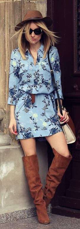 Floral Shirt Dress Streetstyle: