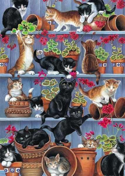 Otter House Flowerpots by Chrissie Snelling 1000 piece cats jigsaw puzzle