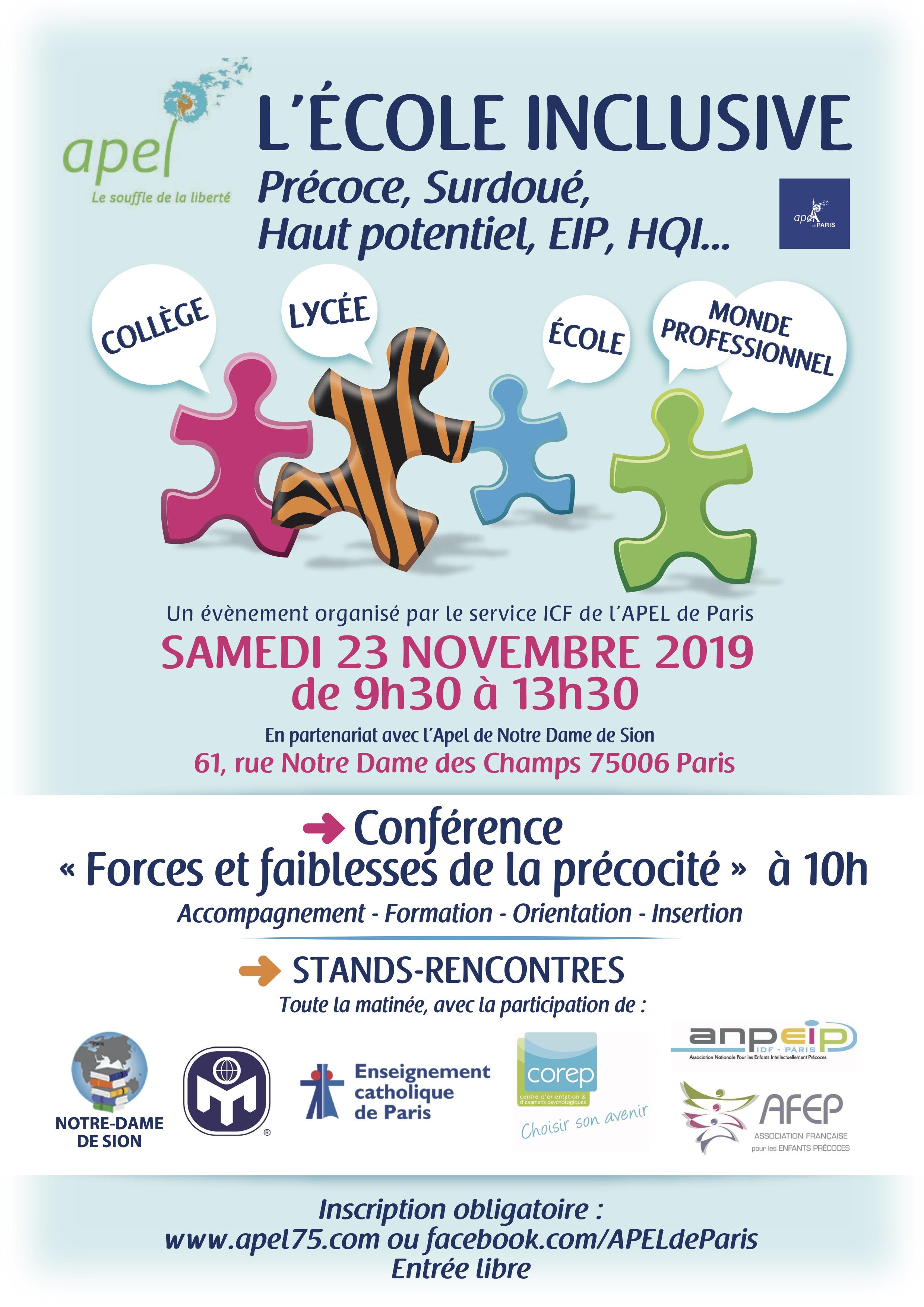 APEL Ecole Inclusive Journée 23/11/2019