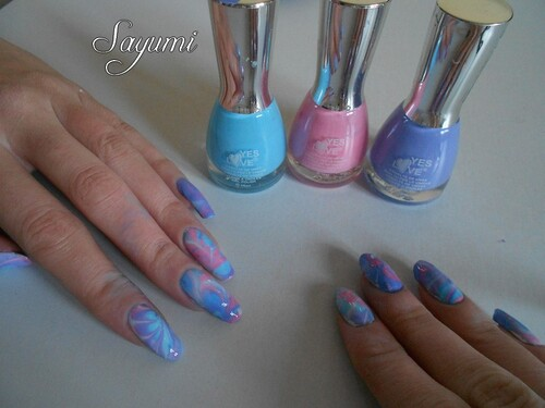 Nail Art Water Marble Couleurs Froides
