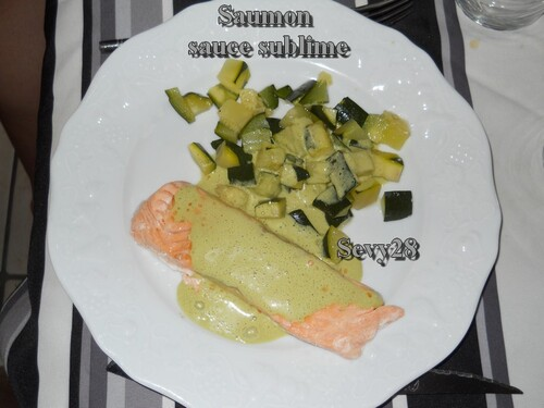 saumon, courgette
