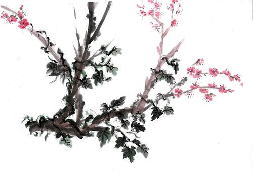 Peinture chinoise : bambous, fleurs de prunus et chrysanthèmes