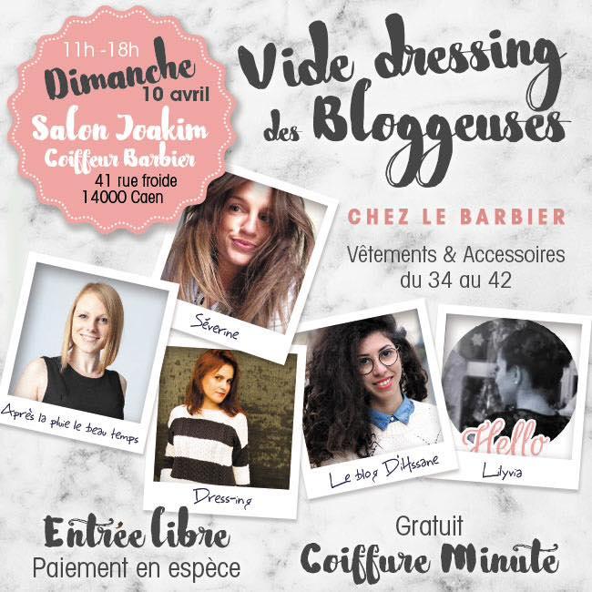 A vos agendas - Vide dressing des Blogueuses chez au salon Joakim Coiffeur Barbier