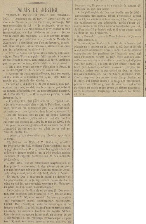 Interrogatoire de Dor le Messie (Le bruxellois 19 11 1916)