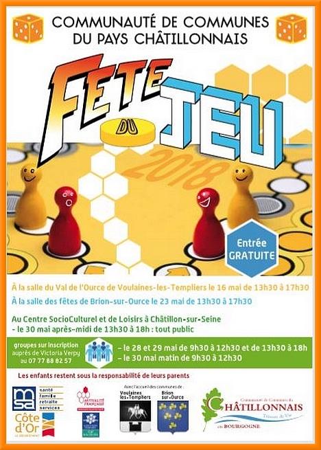 La fête du jeu avec le Centre Social, aura lieu à Voulaines les Templiers, Brion sur Ource et Châtillon sur Seine