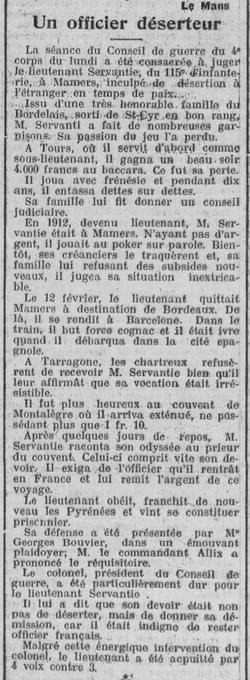 Jean Marie Léon SERVANTIE, Officier, déserteur, Mort pour la France, Médaille de Guerre et Légion d'Honneur