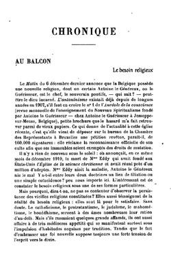 Chronique - Au Balcon - Le besoin religieux (La Revue du mois 1911)