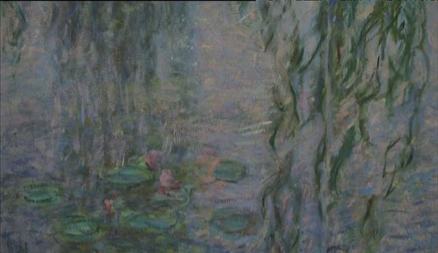"""Détail des """"Nymphéas"""" peinture de Claude Monet, au Musée de l'Orangerie"""