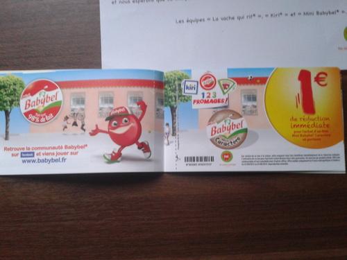 Mon chéquier de 15€ de 2013 pour les fromage du groupe BEL