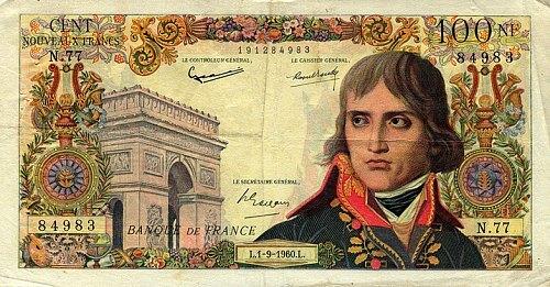 Billet de 100 francs de 1960 à l'effigie de Napoléon